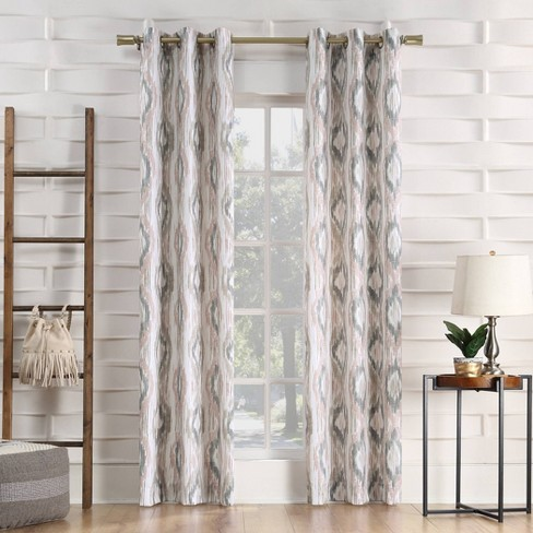 Hoshi Ikat Ogee Semi-Sheer Grommet Curtain Panel Blush - No.918 - image 1 of 4