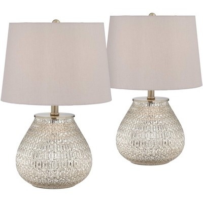 """360 Lighting Country Cottage Accent Table Lamps 19 1/2"""" High Set of 2 Mercury Glass Teardrop Gray Drum Shade for Bedroom Bedside"""