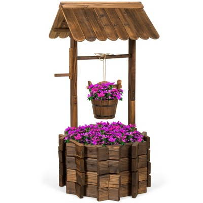Best Choice Products Rustic Wooden Wishing Well Planter Outdoor Home Decor for Patio, Garden, Yard w/ Hanging Bucket