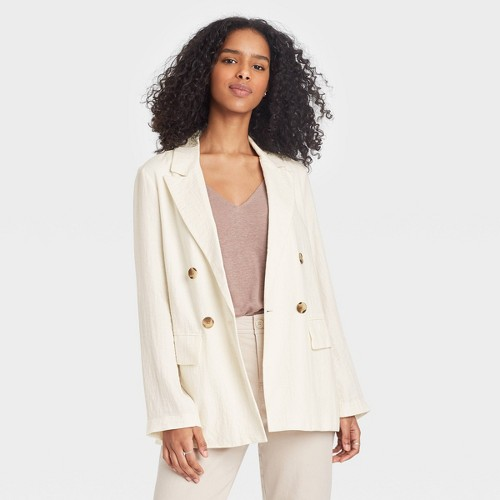 Women S Double Breasted Blazer A New Day Cream XL Ivory