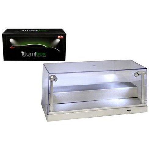 USB Powered Plastic Collectible Display Show Case Silver 1/24 Scale to Display 1/64 Models w/ L.E.D. Lights by Illumibox - image 1 of 1