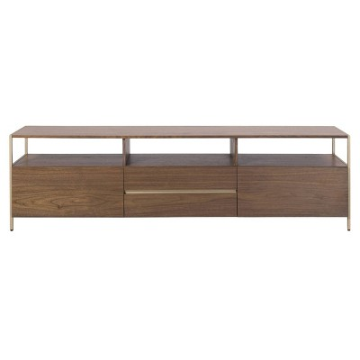 "70"" Clyde Gold Accent TV Stand Walnut - Safavieh"