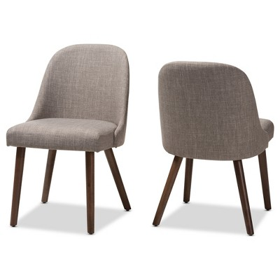 Set of 2 Cody Mid Century Modern Walnut Finished Wood Fabric Upholstered Dining Chair - Baxton Studio