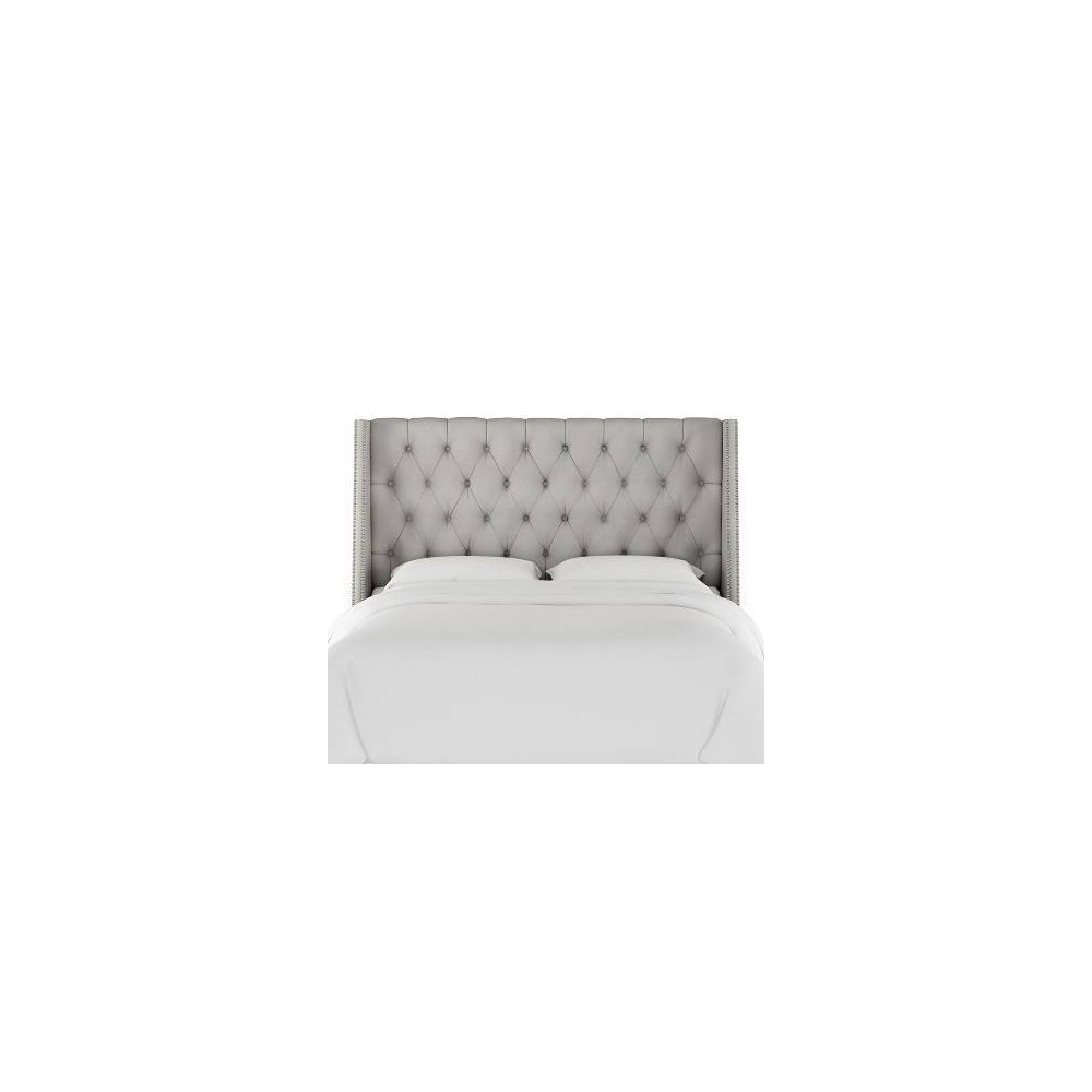 California King Diamond Tufted Wingback Headboard Medium Gray Velvet with Pewter Nail Buttons - Skyline Furniture