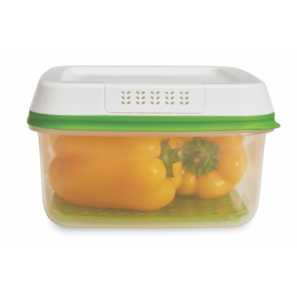 Image of Rubbermaid 11.1 Cup FreshWorks Produce Saver Food Storage Containers Green