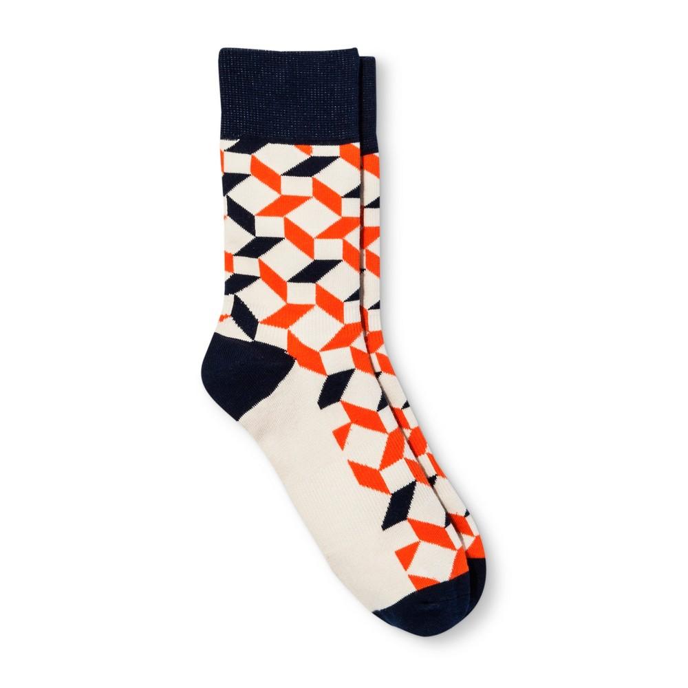 Pair of Thieves Men's Casual Socks - Cream/Orange/Navy 8-12, Multi-Colored