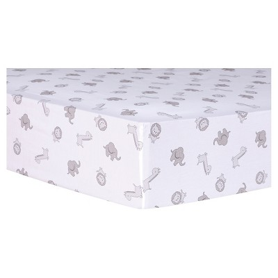 Trend Lab Fitted Crib Sheet - Safari Chevron Animals