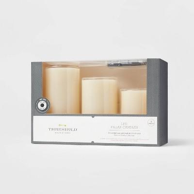 "3pk 6"" x 3"" LED Flameless Black Wick Candle Cream - Threshold™"