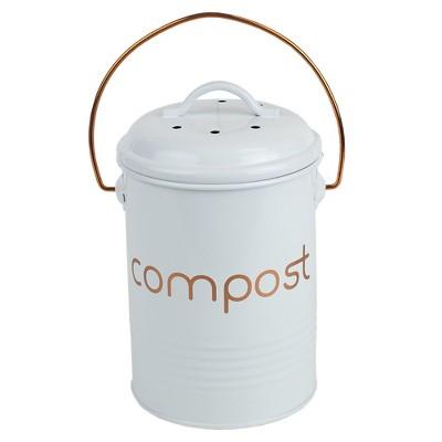 Home Basics Grove Compact Countertop Compost Bin, White