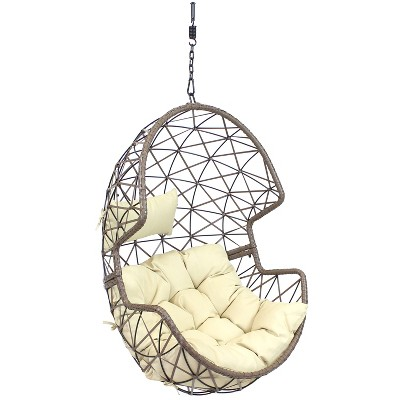 Lorelei Hanging Egg Chair - Beige - Sunnydaze Decor