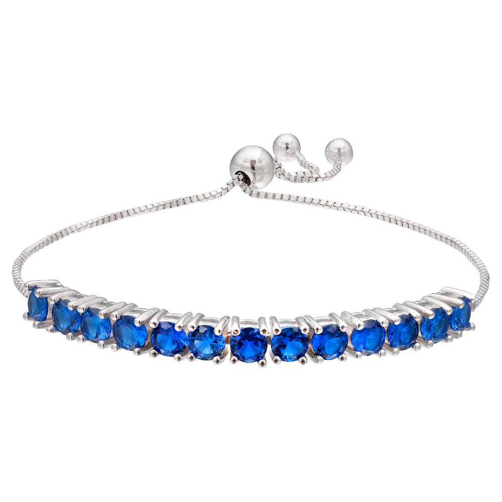 Adjustable Bracelet with Blue Round Cut 4mm Cubic Zirconias in Silver Plate- Blue/Gray (9.5)
