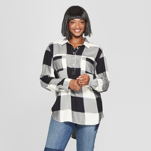 5ea7a256cf2 Women s Plus Size Plaid Long Sleeve Tunic - Universal Thread™ Black ...