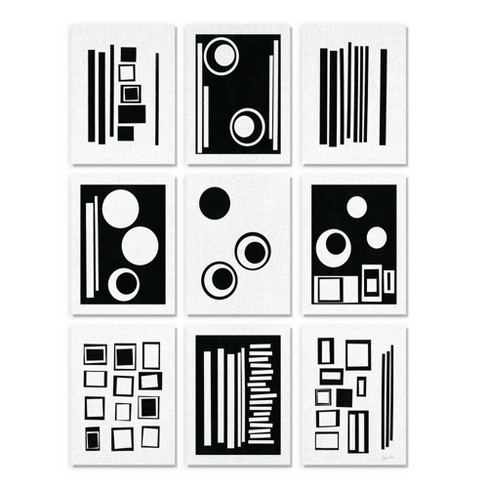 Stupell Industries Black And White Abstract Geometric Shape Designs Target