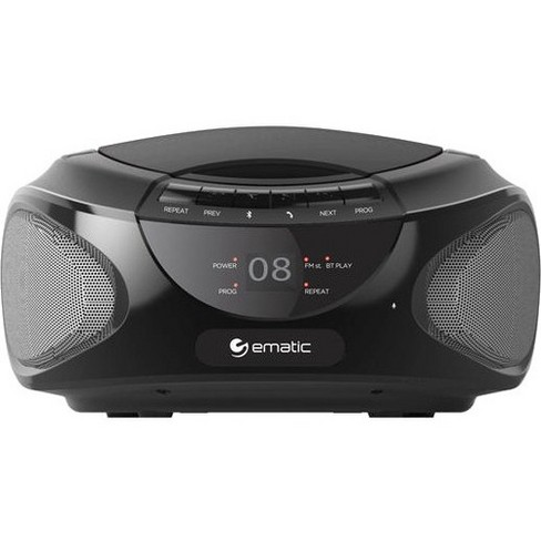 Ematic CD Boombox with Bluetooth Audio & Speakerphone EBB9224 - 1 x Disc Integrated Stereo Speaker - Black - CD-DA - Auxiliary Input - image 1 of 1