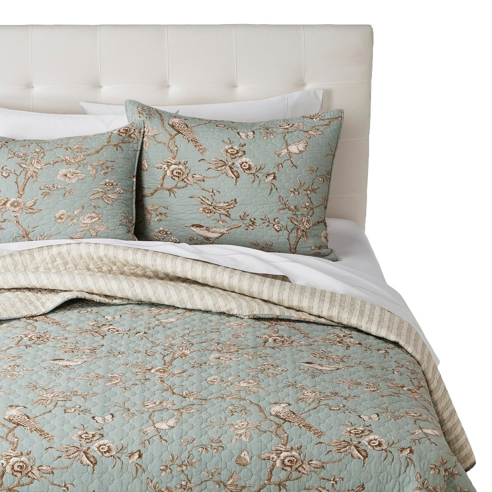 Image of homthreads Luxemburg Quilt Set - Teal (King), Blue