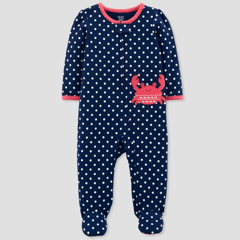 Baby Girls' Crab Dot Cotton Sleep N' Play - Just One You™ Made by Carter's® Pink - image 1 of 1