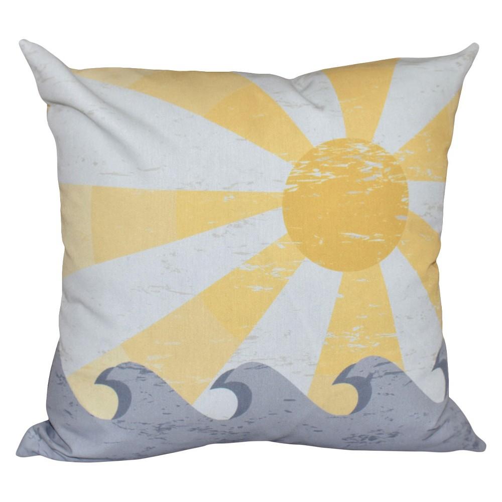 "Image of ""Yellow Sunbeams Geometric Print Throw Pillow (16""""x16"""") - E By Design"""