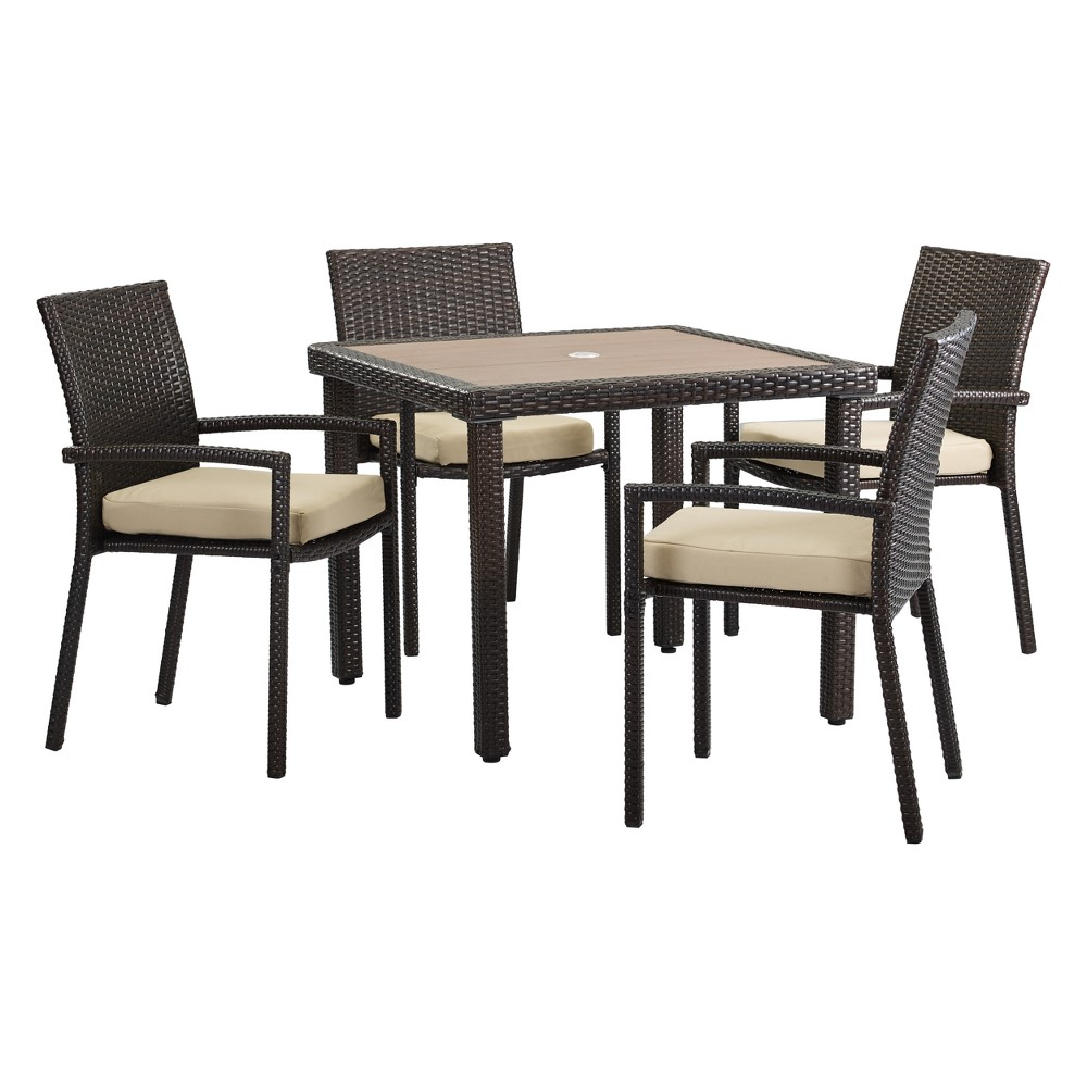 5pc Positano Square Wicker Dining Set Brown/Tan - DH Casual