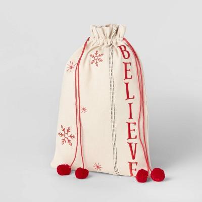 Linen Believe Santa Christmas Sack Cream/Red - Wondershop™