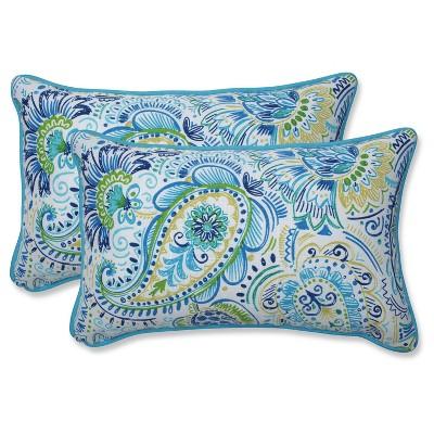 Outdoor/Indoor Gilford Blue Rectangular Throw Pillow Set of 2 - Pillow Perfect