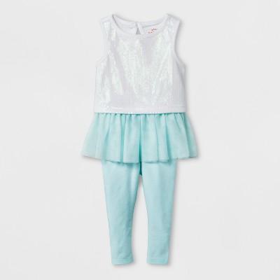 Baby Girls' Top and Bottom Set - Cat & Jack™ Aqua 3-6M