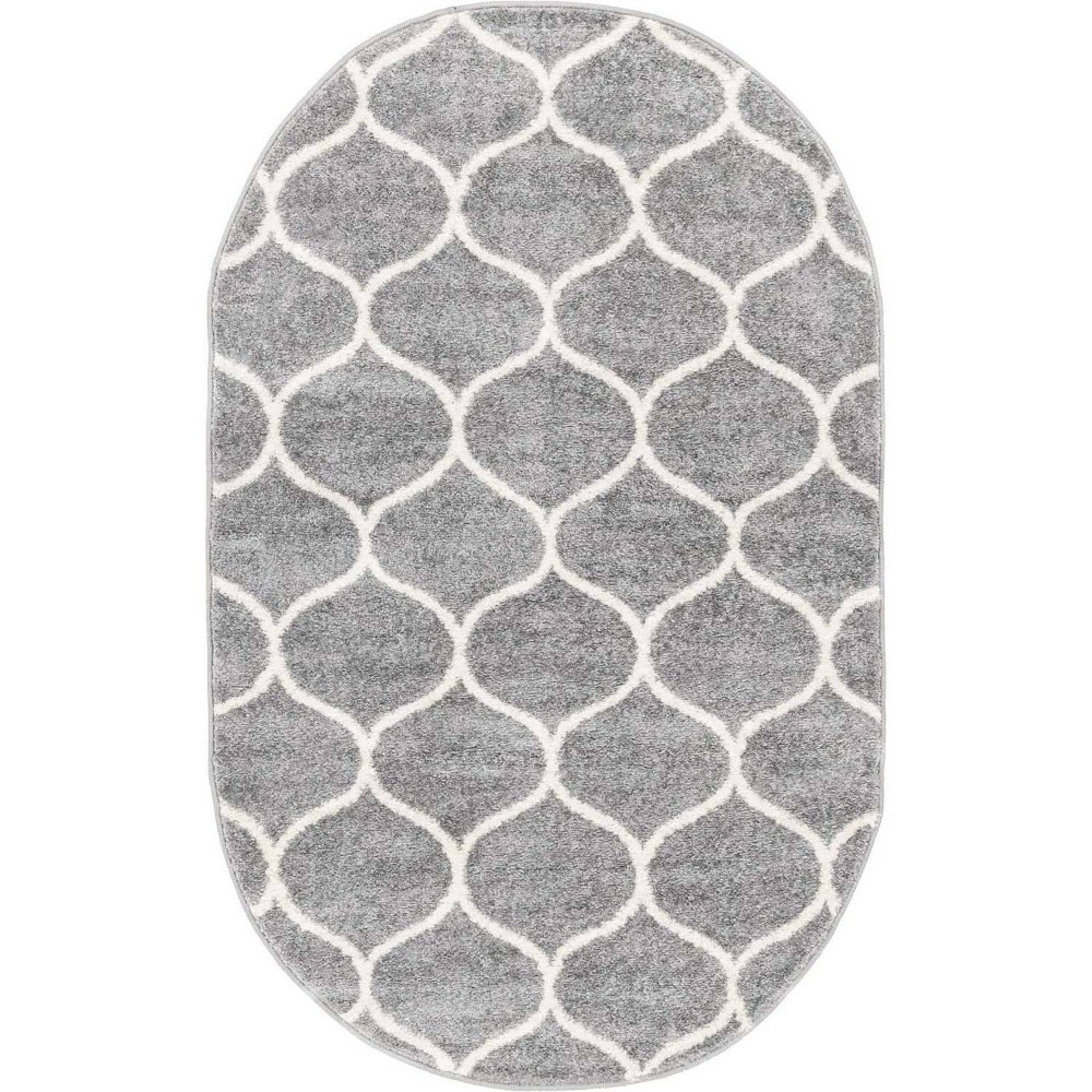 3 39 X5 39 Oval Rounded Trellis Frieze Rug Light Gray Ivory Unique Loom