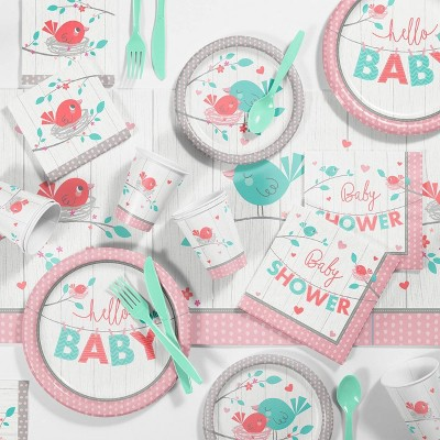 """10ct """"Hello Baby Girl"""" Disposable Napkins Pink"""