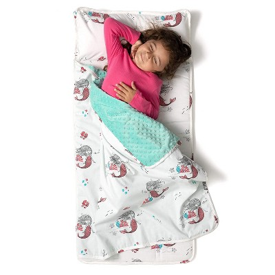 JumpOff Jo Toddler Nap Mat - Children's Sleeping Bag with Removable Pillow for Preschool, Daycare, and Sleepovers - 43 x 21 Inches - Moonlight Mermaid