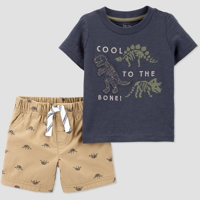 Baby Boys' 2pc Dino Print Top and Bottom Set - Just One You® made by carter's Brown/Blue Newborn