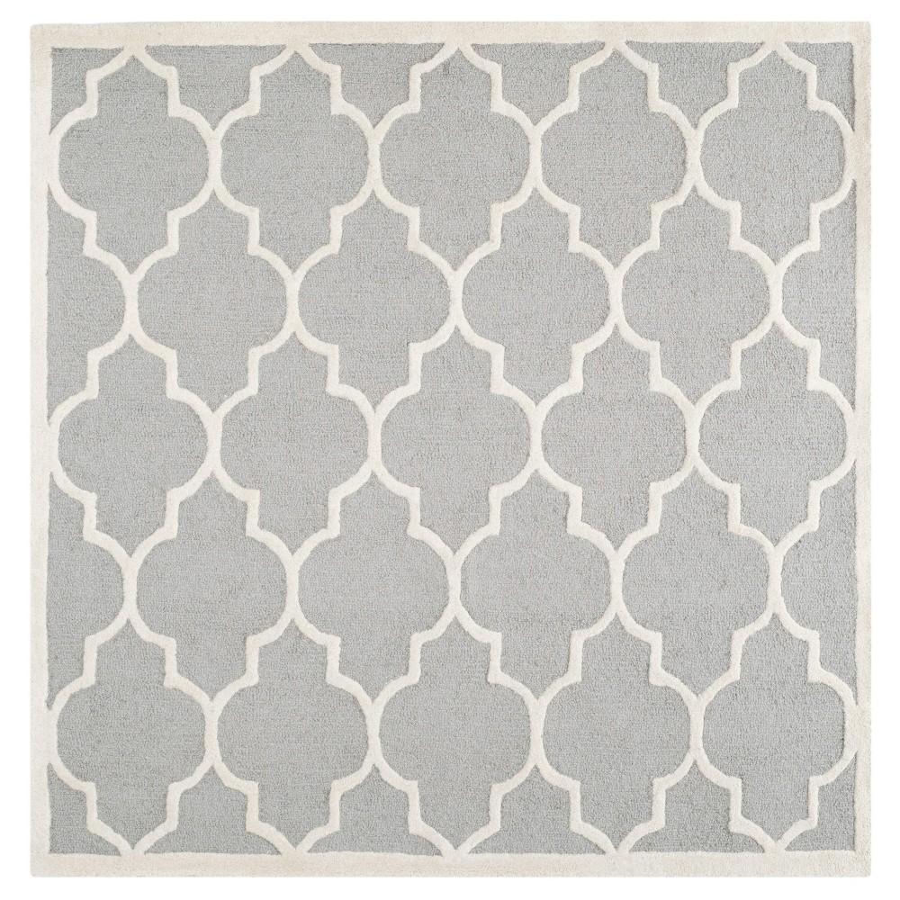 6'X6' Geometric Area Rug Silver/Ivory - Safavieh