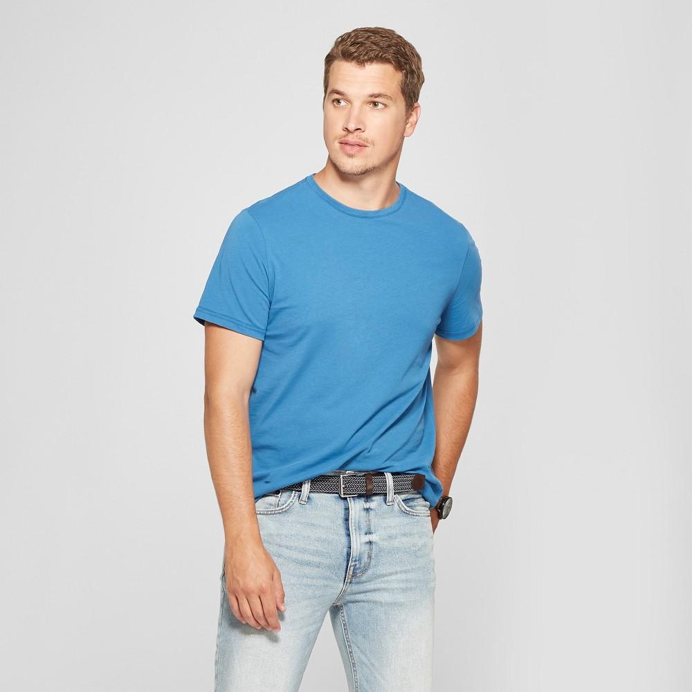 Men's Standard Fit Crew Short Sleeve T-Shirt - Goodfellow & Co Riviera Blue 2XL