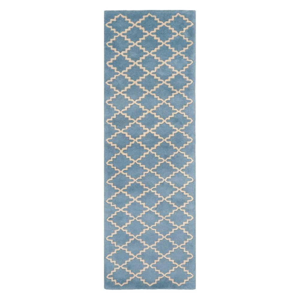 2 3 X11 Quatrefoil Design Tufted Runner Blue Gray Ivory Safavieh
