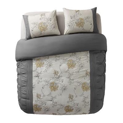 Gray Alexis Comforter Set (Queen)- VCNY