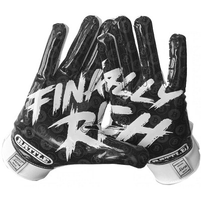 Battle Sports Science Finally Rich Youth Football Receiver Gloves - White/Black