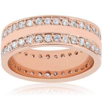 Pompeii3 1 1/2ct Double Row Diamond Eternity Wedding Ring 14K Rose Gold Double Row Band