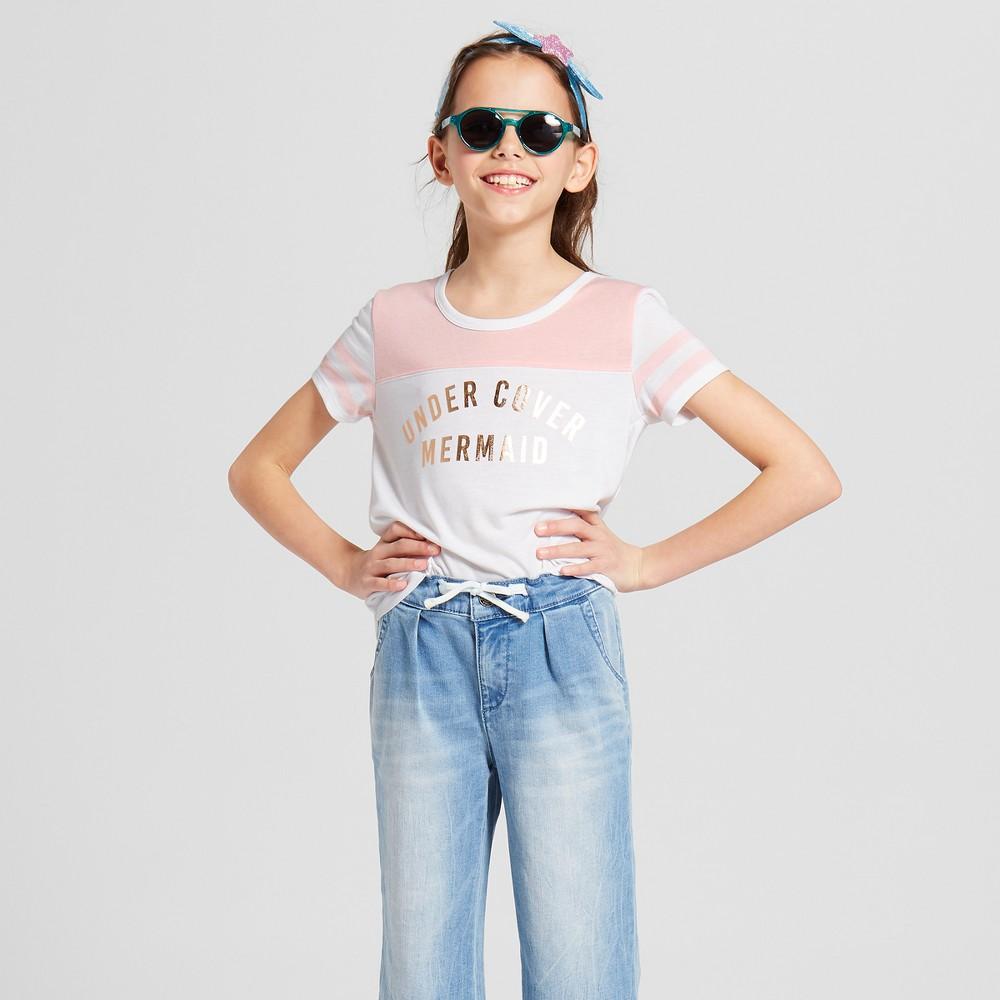 Grayson Social Girls' 'Undercover Mermaid' Short Sleeve T-Shirt - White XS
