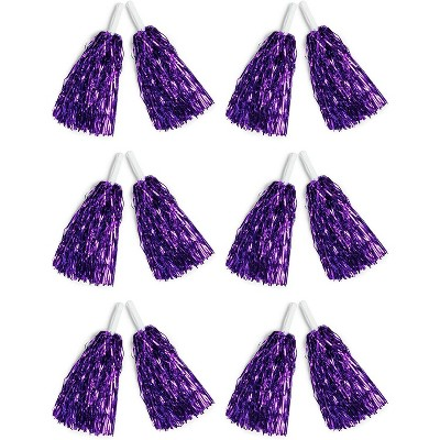 Juvale 6 Pairs Sports Cheerleading Pom Poms, Metallic Purple Foil Fringe
