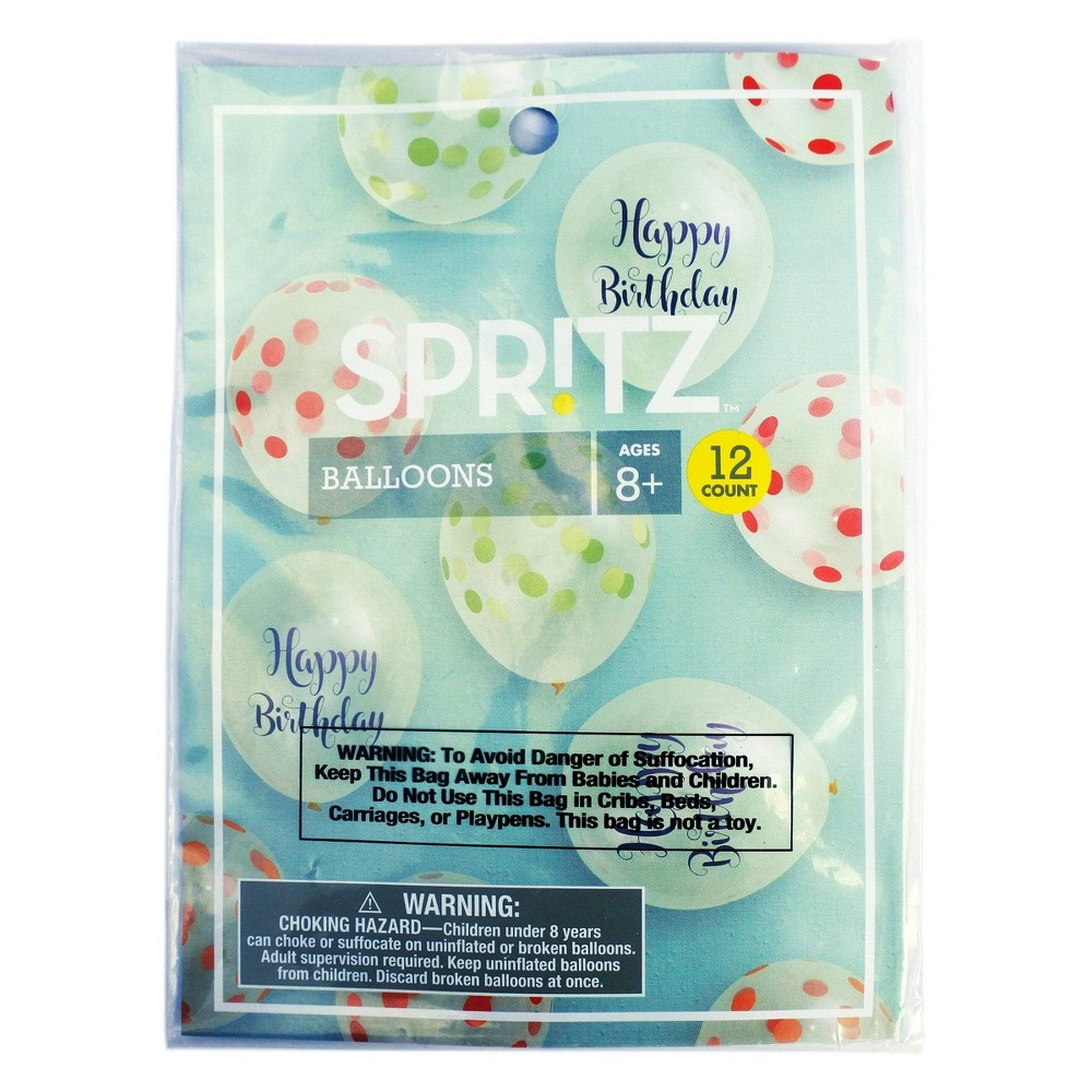 "Image of ""12"""" 12ct Printed """"Happy Birthday"""" Pastel Balloons Clear - Spritz"""