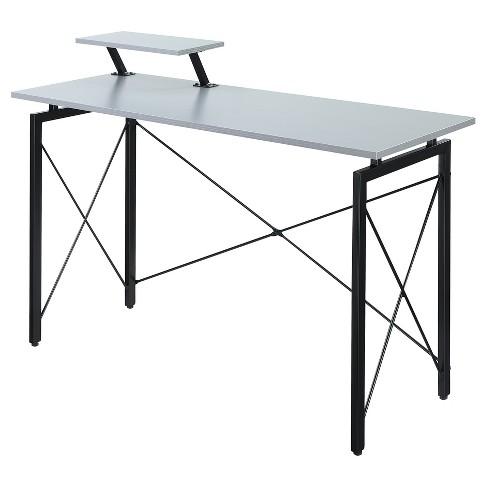 Designs2Go Carly Desk - Gray - Black - Convenience Concepts - image 1 of 3