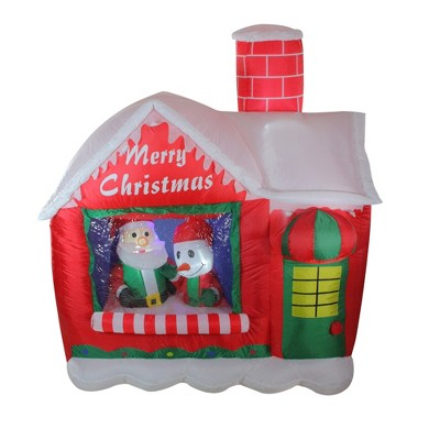 """Northlight 66"""" Pre-Lit Red and White Inflatable Santa's Workshop Outdoor Christmas Yard Decor"""