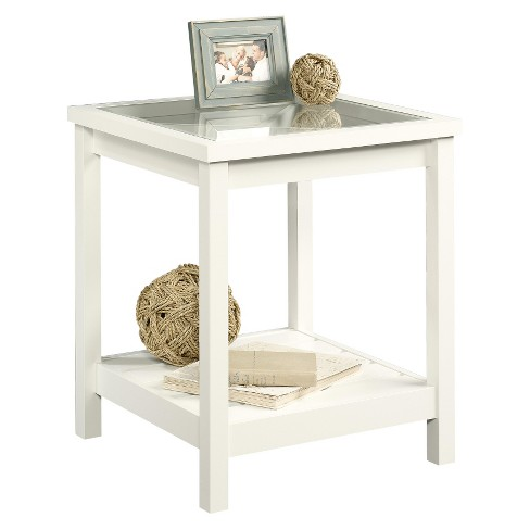 Cottage Road Side Table With Glass Top Soft White Sauder Target