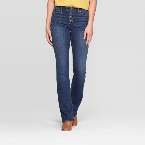 Women's High-Rise Bootcut Cropped Jeans - Universal Thread™ Medium Wash - image 1 of 4