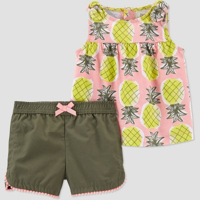 Baby Girls' Pineapple Top & Bottom Set - Just One You® made by carter's Olive Newborn
