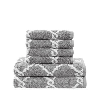 6pc Becker Cotton Jacquard Bath Towels Sets Gray