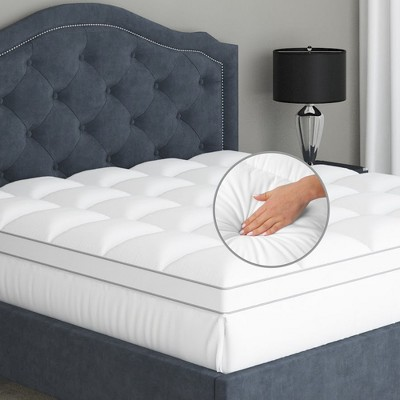 "100% Cotton Pillow Top Luxury Mattress Topper, Soft and Cool, Optimum Thickness with Down Alternative Fill, 18"" Deep Pocket Skirt"