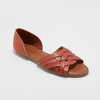 Women's Vail Faux Leather Woven Slide Sandals - Universal Thread™ Cognac 9.5