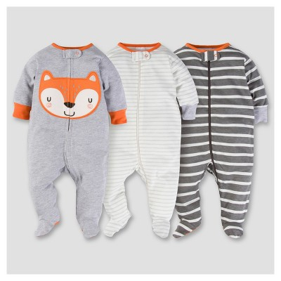 Baby Boys' 3pk Zip Front Sleep N Play - Fox 0-3M - Gerber®