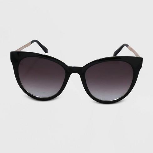 Women's Cateye Plastic Metal Combo Sunglasses - A New Day™ Black - image 1 of 2