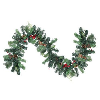 Northlight 6' Unlit Green Foliage, Pinecone and Berry with Tartan Ribbon Christmas Garland