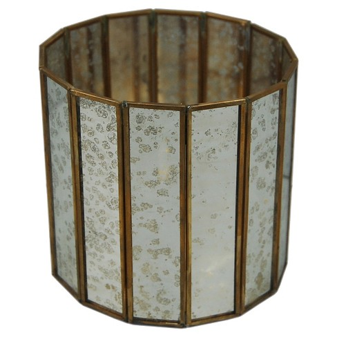 "Glass & Brass Candle Holder 7.6"" - A&B Home® - image 1 of 1"